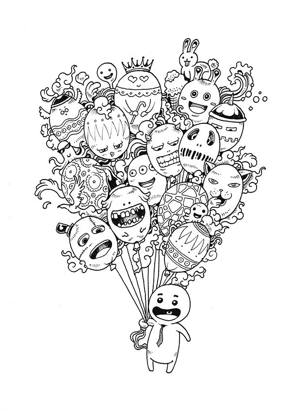 Doodle Invasion Coloring Book by Kerby Rosanes, via Behance