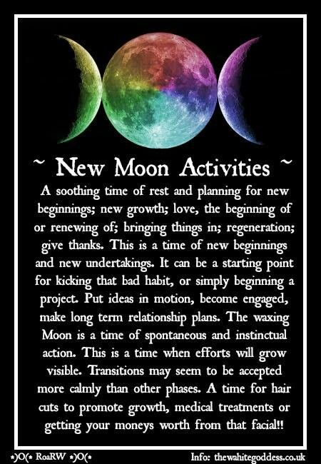 Moon: #New #Moon Activities. - Pinned by The Mystic's Emporium on Etsy