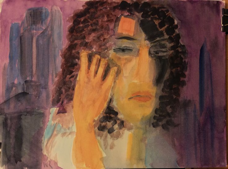 """This is """"Suspicion,"""" watercolor painting Expressionist self says it's done, figurative shrugs on 9""""x12"""" Fabriano Artistico hot press 140 lb paper (c) 2015 Wes Rehberg"""