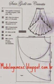 Modelagem Corte e Costura Cléo Alves : Modelagem da Saia Godê em Cascata