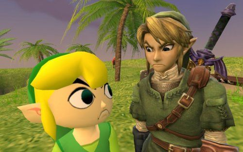 Toon Link & Regular Link don't enjoy each other's presence.: Link Stare, Legends, Kawaii Geekeri, Funny Pictures, Videos Games, The Faces, Link And Zelda Funny, So Funny, Twilight Princesses