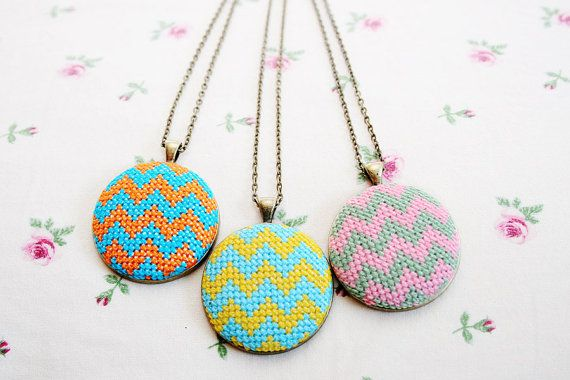 Cross stitched zig zag necklace nr. 2. $20.00, via Etsy.