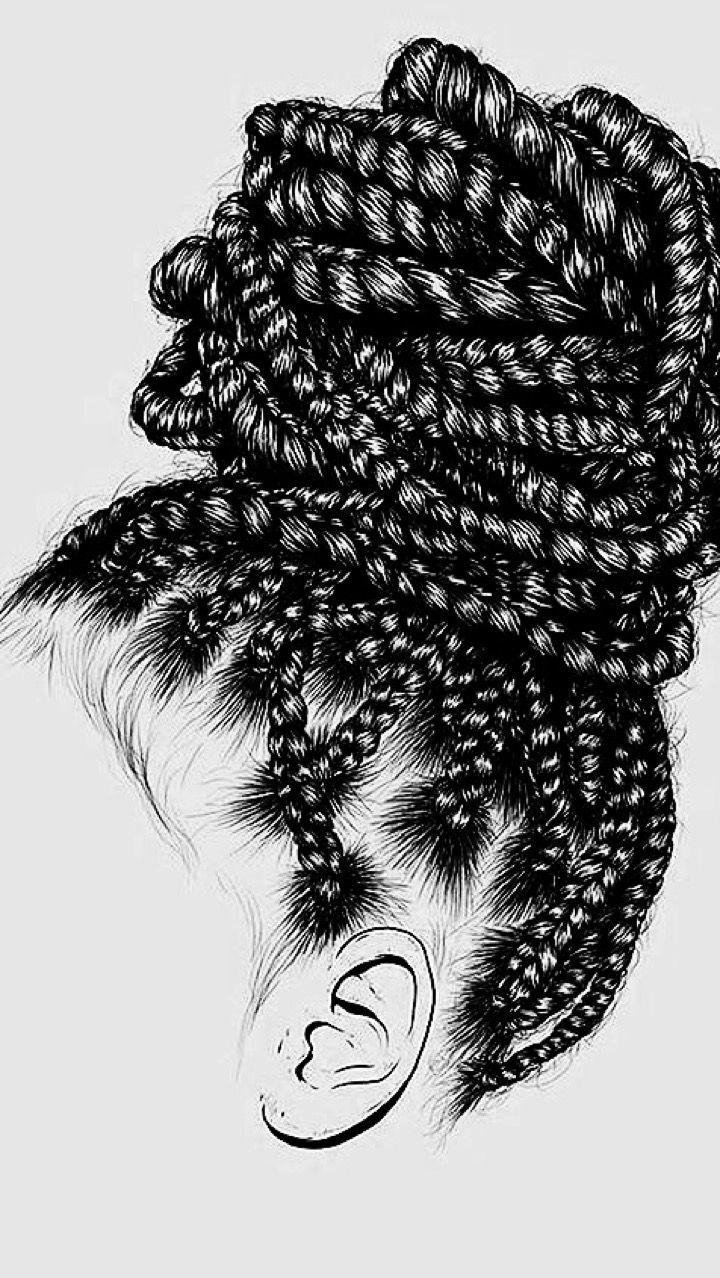 Косички рисунки черной ручкой