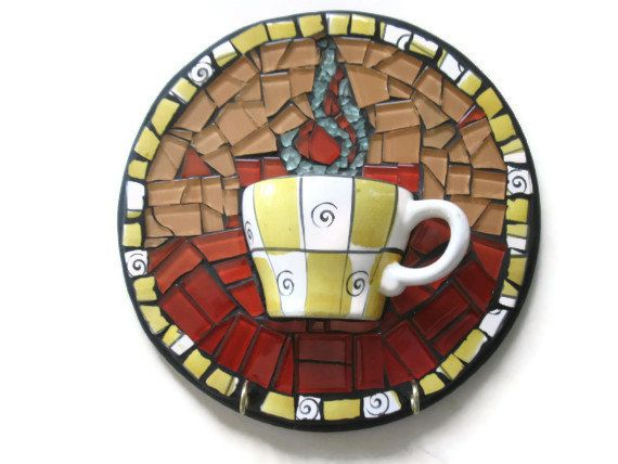 Mosaic Wall Art Cup of Coffee Mixed Media Glass Broken China Decorative Hooks Home Decoration mothers day