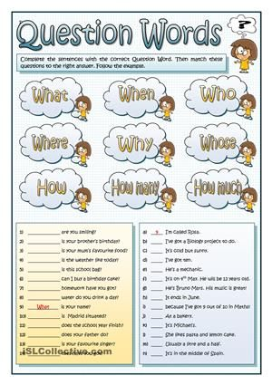 A1 grammar activity. This worksheet revises the most common question pronouns. Students fill in the gaps with the suitable wh- word and then they match these questions to their answer. - ESL worksheets