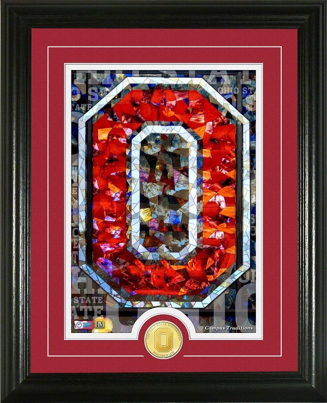 Ohio State Buckeyes Football-Pictures-Quotes-Frames-Posters-All With OSU Logo-Scarlet And Gray-Ohio State University Pictures-OSU Prints-Ohio Stadium Stained Glass Photos-Ohio State photo of the prestigious Stained Glass in the Ohio Stadium Rotunda and commemorative coin.