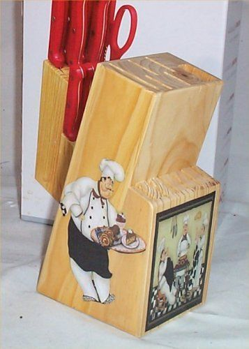 Knife Set Red 13 Pc Butcher Block Fat Chef Bistro Kitchen Decor Blk Chef By Family