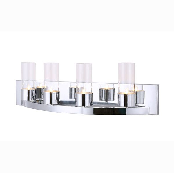 This Chrome Canarm Vanity  has clear glass with a G9 bulb. Love it.