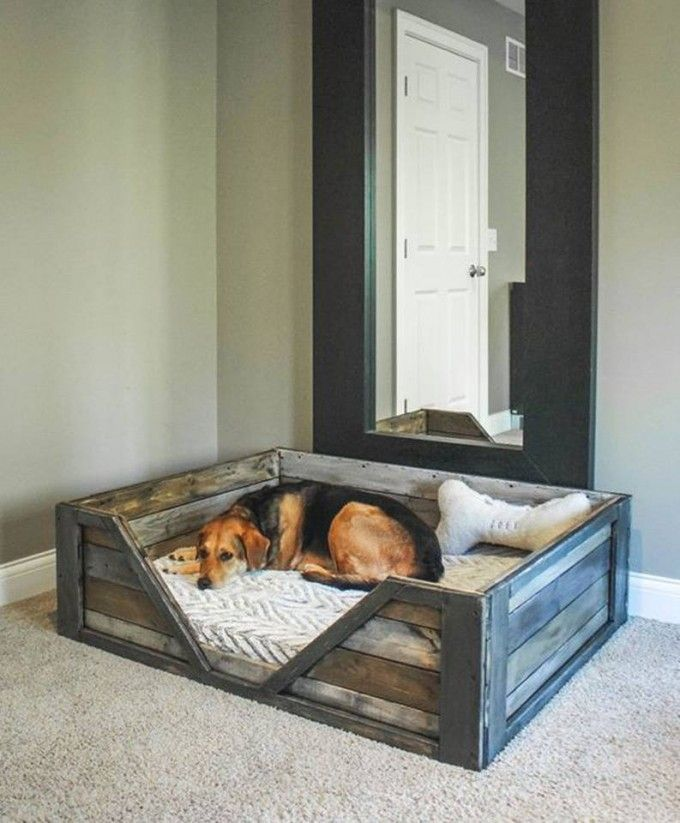 DIY Pallet Dog Bed - create a bin or basket with over the door hooks that can hold toys or storage