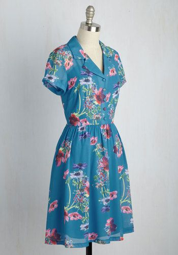 As you flit around from fetes to festivals in this cool blue shirt dress, friends are quick to offer acclamation! Collared, buttoned, gathered at the waist, and covered in pink and purple poppies, this pocketed style from our ModCloth namesake label puts a carefree spin on casual-chic fashion. You wear it well!