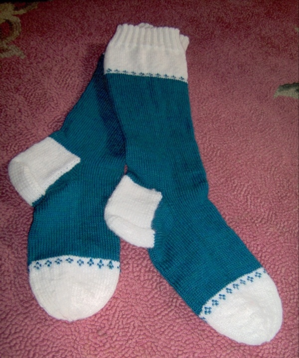 teal and white boot sock