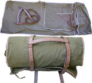 """Officer""""s Canvas Bedroll with Leather Straps Would look better on the forks of a bike."""