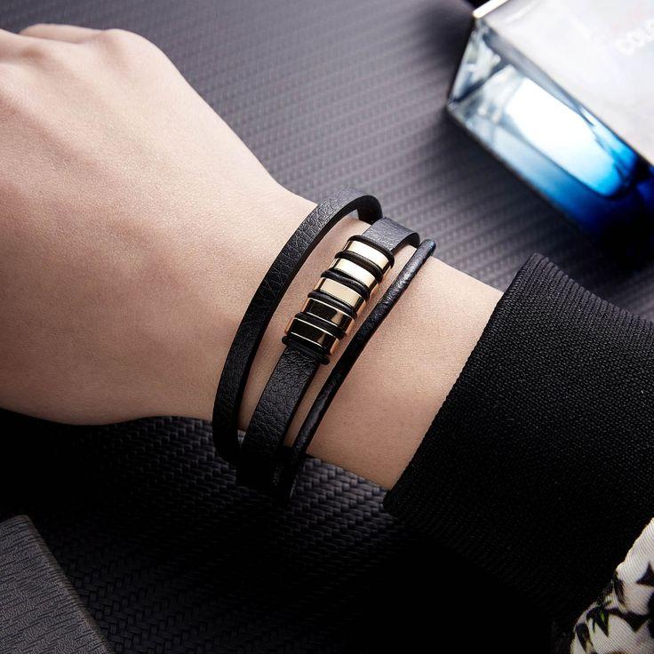 Leather bracelet men black braid multilayer rope chain bracelets bangles magneti…  – Products