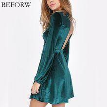 Beforw new velvet dress sexy backless mangas compridas vestidos clube verão fábrica de vestuário party dress para as mulheres vestidos(China (Mainland))