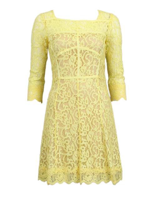 Gele jurk - Halflange jurken - BoBo Tremelo