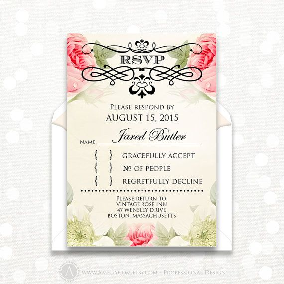 Printable RSVP Card Vintage Floral Reply Card, EDITABLE Instant Download Digital DIY, Response Cards for Wedding or Shower + Back PostCard