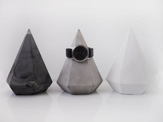 Concrete decor diamond, concrete home decor, concrete paper weight, watch holder