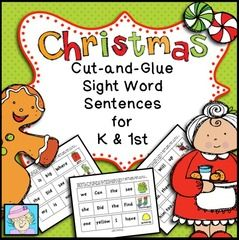 Sight Word Sentences for Christmas (K/1) ! Enter for your chance to win 1 of 3. Cut-and-Glue Sight Word Sentences for K and 1st:  Christmas Theme  (15 pages) from TeacherTam on TeachersNotebook.com (Ends on on 12-04-2017) Your littles will love practicing sight words, grammar, and punctuation with this set of Christmas-themed sight word sentences! .