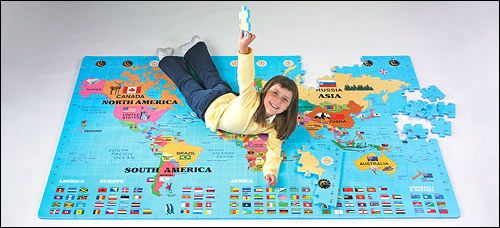 World Map Puzzle - the preschool class (and my kids) love this puzzle!  It is a challenge to put together - I'd recommend it for 8+ kids.  But put it together on your own, and invite preschoolers to hop to each continent while singing the songs.
