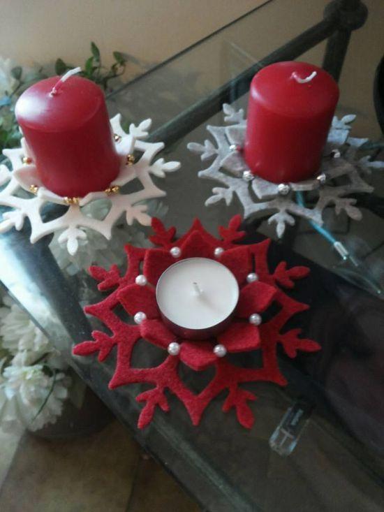 Porta vela de fieltro con un solo molde - Dale Detalles