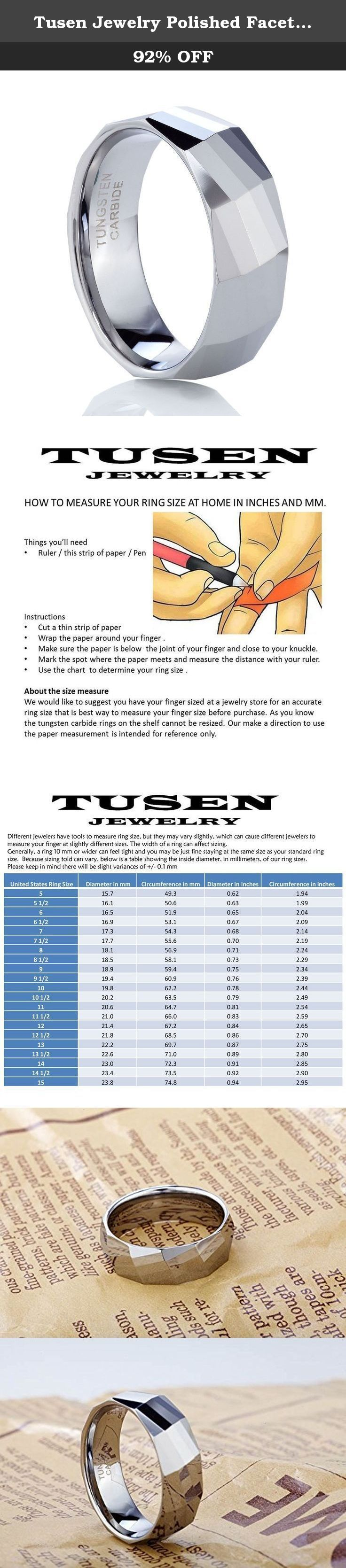 Tusen Jewelry Polished Facet Cut Shiny Tungsten Carbide Wedding Band Ring 8MM Size. TUSEN JEWELRY-Tungsten Carbide Ring On Amazon For your Aesthetical Life Tusen Jewelry should make our best effort to meet consumer demand for really high quality jewelry with reasonable price. Tusen Jewelry - Always keep in touch with our clients closely for Aesthetical Life.Share your beauty to this world. Tungsten Ring Maintenance Tips 1.Tungsten ring cleaning: Tungsten jewelry can tarnish and also be...