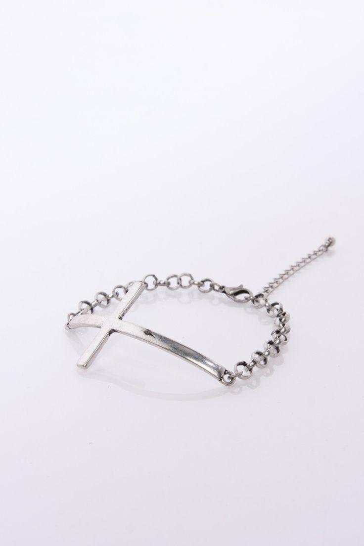 ShopSosie Style : Laid Cross Bracelet in Silver
