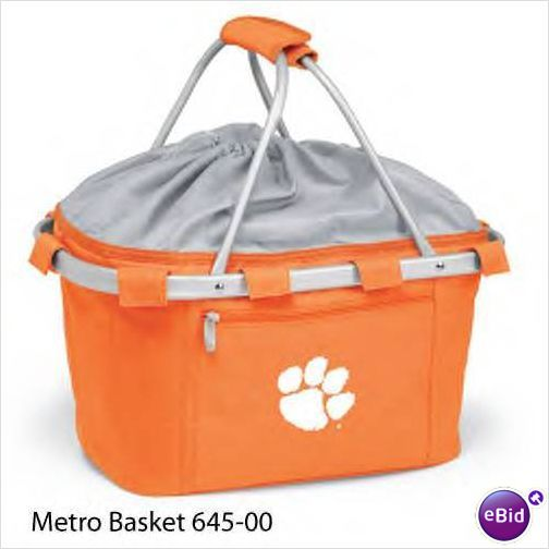 CLEMSON UNIVERSITY .. This Metro picnic basket is a lightweight, fully-collapsible, insulated basket that can be used for many occasions. It's made of durable 600D polyester canvas and features a water-resistant interior and expandable drawstring top and sturdy aluminum frame from which the canvas detaches for easy cleaning. The Metro picnic basket is a thoughtful gift for those always on the go! $47.95