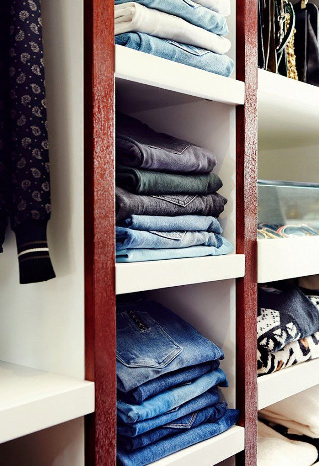 Closet organization tip: Fold your jeans and sweaters by stacking them  by wash and color so you can see everything you own.