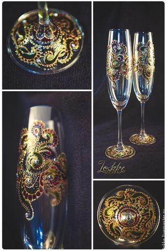 """Painted glass / Купить Бокалы для шампанского """"Мардигра"""" - бокалы для свадьбы, бокалы для молодоженов, бокалы для шампанского, Бокалы, роспись"""