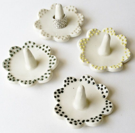 ceramic ring holder ring dish jewelry ring by CurlyGirlieDesigns, $8.50