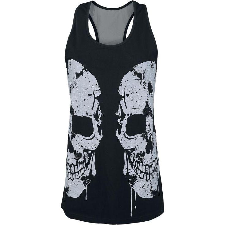 Yksinoikeudella EMP:ltä! Pääkallot näyttävät aina upeilta vaatteissa. Tämä Rock Rebel by EMP:n musta naisten Double Skull -toppi on siitä hyvä esimerkki. Topissa on kaksi suurta pääkallopainatusta ja niittejä.