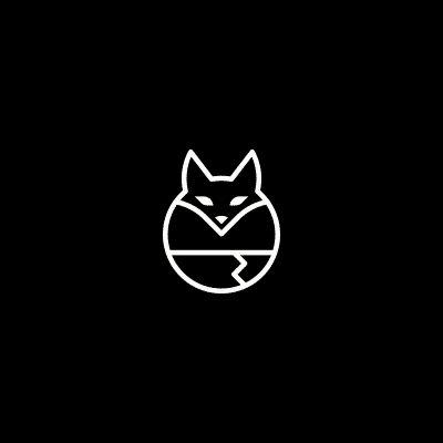 Logo simplifié d'un renard en rond et linéaire