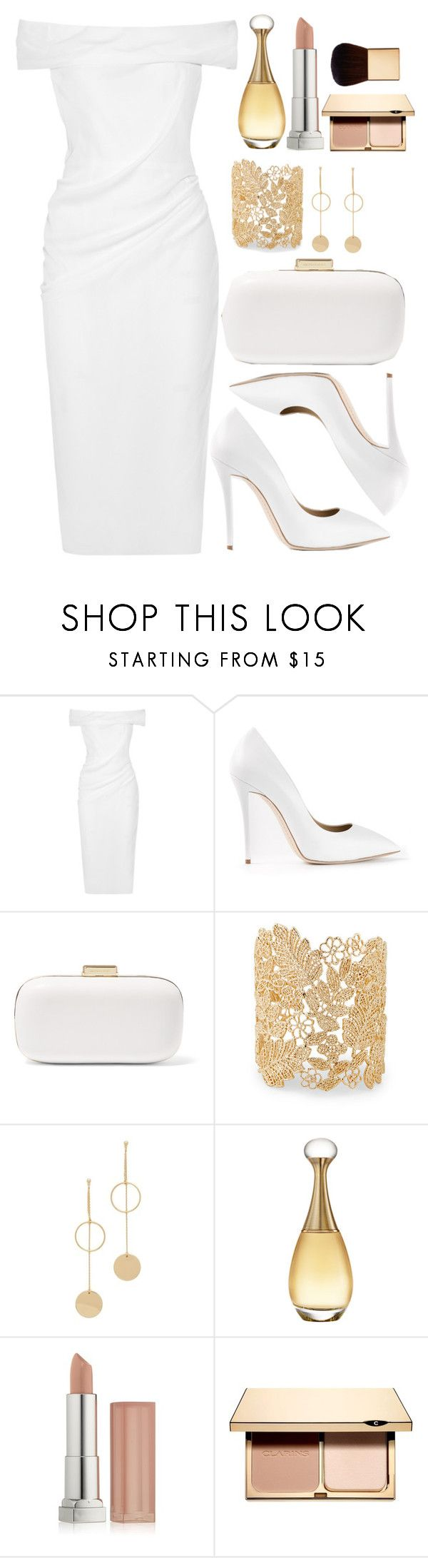 """Untitled #4402"" by natalyasidunova ❤ liked on Polyvore featuring Cushnie Et Ochs, Giuseppe Zanotti, MICHAEL Michael Kors, Sole Society, Cloverpost, Christian Dior, Maybelline, Clarins and AERIN"