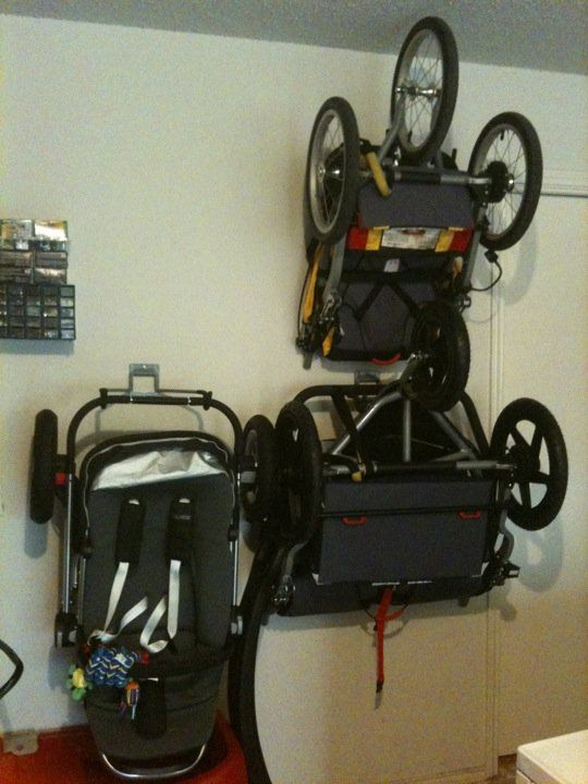 What about BOB (and BOB Duallie)?  Bike hooks screwed into studs create wall-mounted stroller storage!