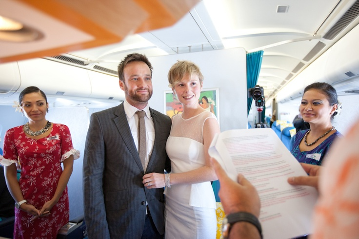 Air Tahiti Nui has held its first inflight wedding ceremony 10,000m in the air somewhere over the Atlantic Ocean between Paris and Los Angeles with a British couple celebrating their union on flight TN07 en route to Tahiti for their honeymoon.