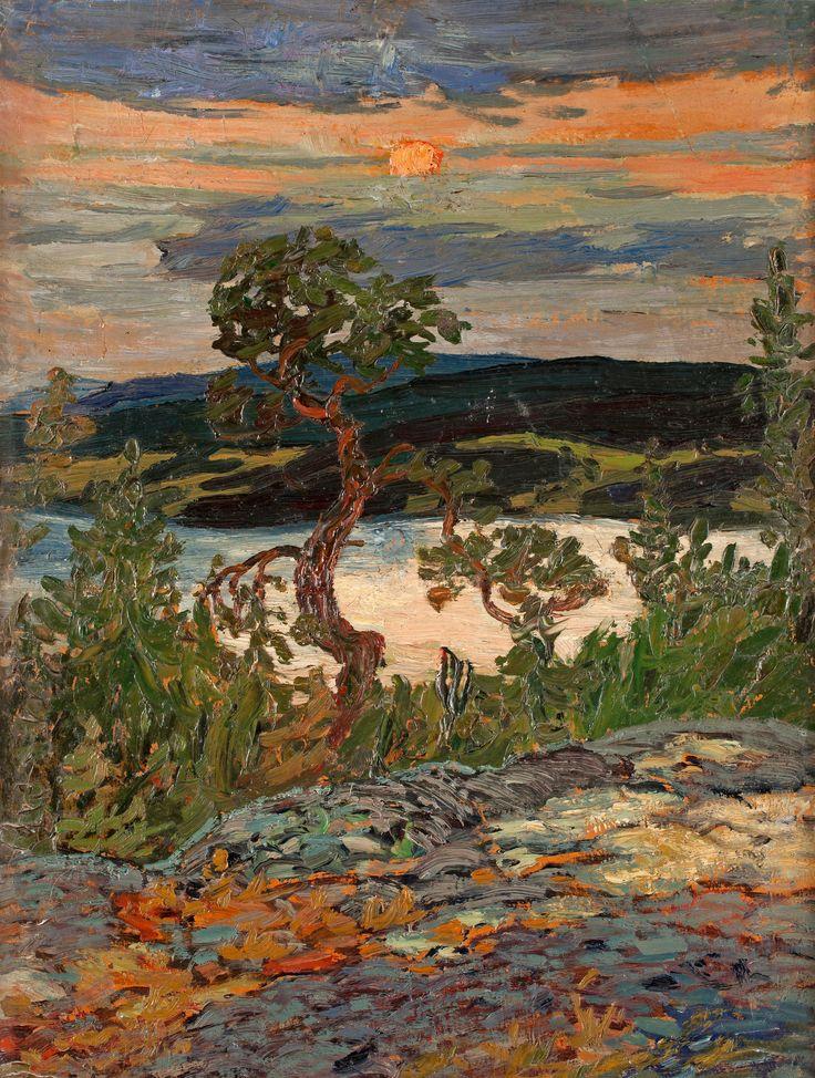 Helmer Osslund (1866-1938): Afton i Ångerm. V. skärgård