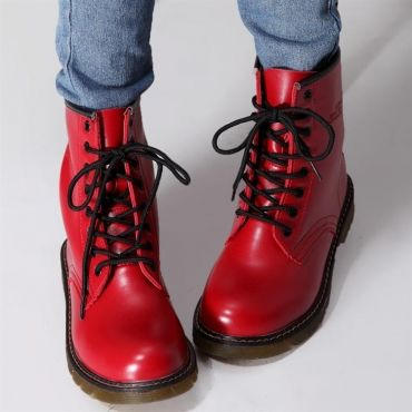 USD20.99Spring Autumn Round Toe Flat Low Heel Lace Up Ankle Red Cavalier Boots I'm sure I must need these, I must!