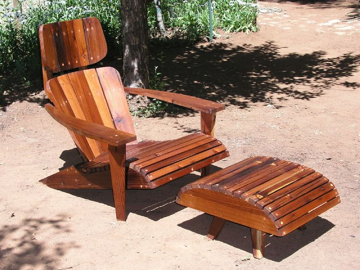 Modern Adirondack Chair Sun Lounger and Ottoman made from Reclaimed Mixed Harvest redwood by MidCenturyWoodShop on Etsy