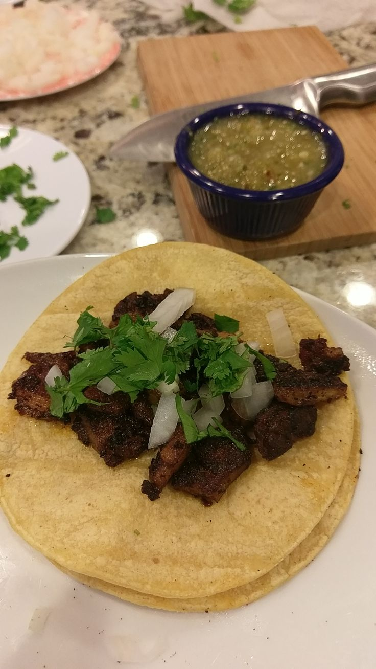 [homemade] Tacos al pastor using Kenji's loaf method cause I don't have a trompo
