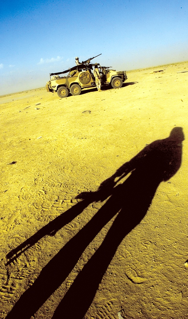 The shadow of an Australian Special Forces Task Group soldier during a training activity in Afghanistan