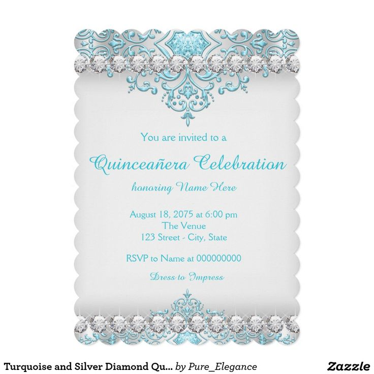 Turquoise And Silver Diamond Quinceanera Invitation