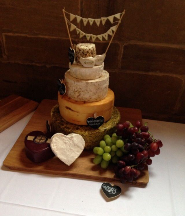 Wedding cheese cake, with Brie and smoked cheddar hearts :)