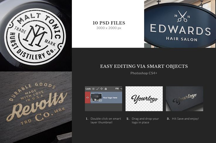 The forth volume of the logo/badge mock-up series brings you a new set of 10 PSD files that you can use to showcase your logo, badge, insignia, label, monogram, lettering and more. The smart