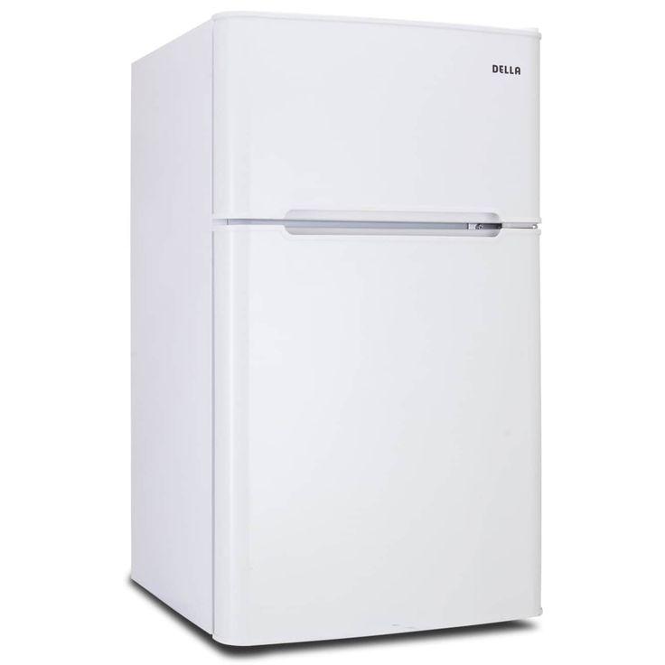 Della 3.2 cu. Feet Double Door Compact Refrigerator Fridge and Freezer -White, White