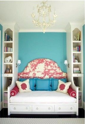 Bed & Shelf Combo. Smart for small spaces. I want something like this done for my room. Except for a small sideways bed, my queen size coming out from in-between those two shelves.