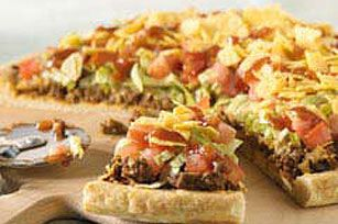 taco pizza - needs refried beans as base and sour cream