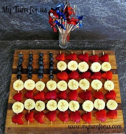 Fruit skewers for the Fourth!