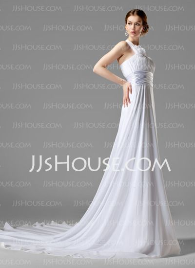 Wedding Dresses - $126.99 - Empire One-Shoulder Chapel Train Chiffon Charmeuse Wedding Dresses With Ruffle Flower(s) (002000447) http://jjshouse.com/Empire-One-Shoulder-Chapel-Train-Chiffon-Charmeuse-Wedding-Dresses-With-Ruffle-Flower-S-002000447-g447