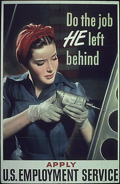 "Previously said: ""World War II Ad - women joined the workforce and kept the manufacturing engine going in the U.S. during World War II, providing materials needed for the war"""