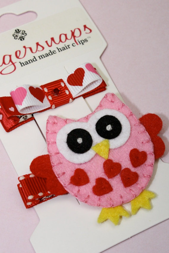 VALENTINE'S DAY Love Owl and Bow Hair Clip Barrette by sstonerook, $7.50